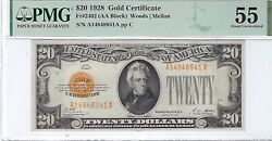 1928 20 Gold Certificate Fr2402 Pmg 55 Au Woods/mellon High Quality