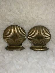 Vintage Andrea By Sadek Brass Shell Shaped Bookends