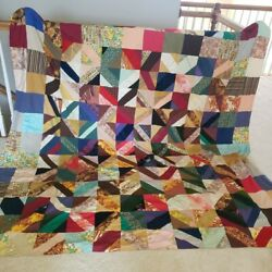 Exquisite Vintage One Of A Kind Handmade Silk Quilt Made From Neckties 96x80