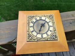 Vintage General Electric Electric Wall Clock Works Brass Wood 2057d