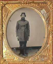Civil War Union Soldier - Patriotic Union Brass Matted 1/6 Plate Ruby Ambrotype