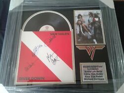 Van Halen Diver Down Signed Lp Cover By Cast Members 4 Custom Framed W/ C.o.a.