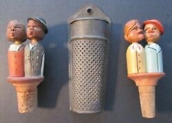 Two Hand Carved Animated Kissing Couples Bottle Stoppers + Antique Nutmeg Grater
