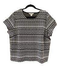 Coldwater Creek Size 1x Tribal Print Knit Tee Shirt Top Blouse Black And White 285