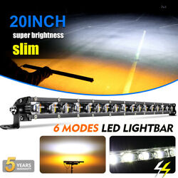 20inch 1200w Suv Truck Off-road Car White Amber Strobe Dual Color Led Light Bar