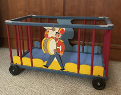 Vintage Mid Century Childs Toy Chest Wagon Marching Band Wood Storage Box Rare