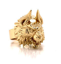 Mens 14k Solid Yellow Gold Highly Detailed 3d Wolfandrsquos Head Ring 19.3 Grams