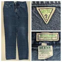 Georges Marciano for Guess Vtg 80s Men#x27;s 33x32 Jeans Green Triangle Logo 10001