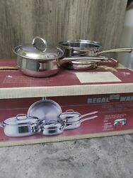 Vintage Regal Ware 3 Ply 18-8 Stainless Steel 8pc Cookware Set Still In Box