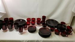 Vintage France Ruby Red Glass Dishes Dinner Set 61 Piece Plates Bowl Cup