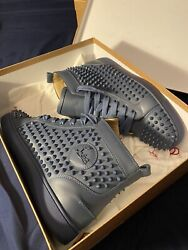 Christian Louboutin Hightop Red Bottoms Spike Studs Navy Size 41.5 Worn With Box