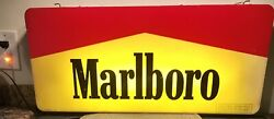 Rare Charming 1995 Marlboro Electric Fluorescent Light Sign Double Sided 28andrdquox12andrdquo