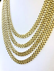 10k Yellow Gold Mens Wide Rolex Link Style Chain Necklace 22242628andrdquo 9 Mm