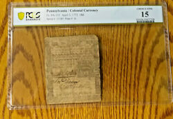 Pa-155 April 3 1772 18p Pennsylvania Colonial Currency Note Bcs/612-185