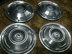 Ford 1965-1970 Classic Hubcap Set 3 Lions W Crown Symbol Oem Ford Caps 15andrdquo Vhtf