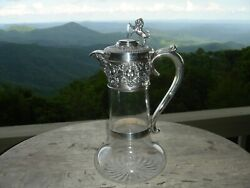 English Sterling Silver And Crystal Wine Decanter H. Woodward 1902