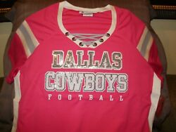 Nfl Dallas Cowboys Sparkle Bling Sequins Pink Fitted Jersey Shirt Women's Large