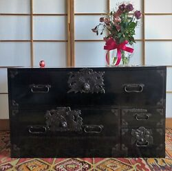Antique Japanese Furniture Wood Isho Dansu Shonai Tansu Black Lacquered L.34inch