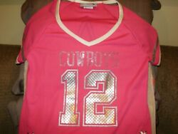 Nfl Dallas Cowboys Sparkle Bling Hot Pink Fitted Jersey Shirt Top Women's Medium