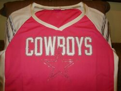 Nfl Dallas Cowboys Sparkle Bling Hot Pink Fitted Jersey Shirt Top Women's Xl