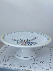 Old French Faience Deep Plate On Pedestal / Fruit Bowl - Onnaing 1920's