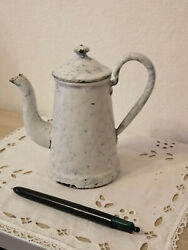 Old French Enameled Coffee Pot Snow On The Mountain Graniteware Rare Small Size