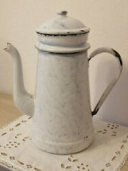 Old French Enameled Coffee Pot Snow On The Mountain Graniteware