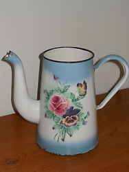 Antique French Enameled Pot - Authentic Enamel Graniteware - Roses And Pansy