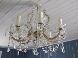 Fab. Vintage French Chandelier Crystal Glass 8 Arms Sconces - Prisms And Pendants