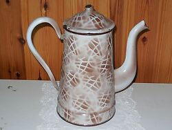 Antique Vintage French Enameled Coffee Pot - Shades Of Brown Graniteware