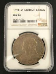 Queen Victoria Great Britain Crown Silver Coin 28.27g Ngc Cert F/s Fr Jpn8055n
