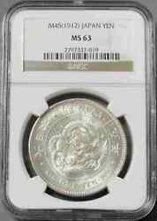 Meiji 1 Yen Coin 1912 Ngc Ms 63 Free Shipping From Japan With Tracking 9318n