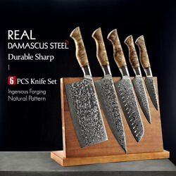 5 Pcs Damascus Super Steel Chef Paring Santoku Sharp Cook Kitchen With Magnetic
