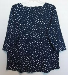 Croft Barrow Size 1x Navy And White Dot Knit Top, Scallop Neckline, Nwt