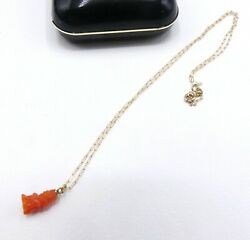 Vintage 14k Chain And Antique Carved Small Coral Monkey Necklace