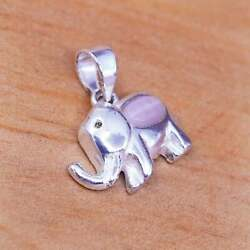 Vintage Sterling Silver Handmade Pendant 925 Elephant And Pink Cat Eye Inlay