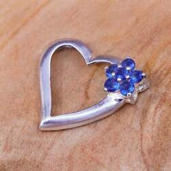 Vintage Sterling Silver Pendant 925 Heart With Sapphire And Diamonds