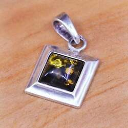 Vintage Sterling Silver Handmade Pendant 925 Square With Amber