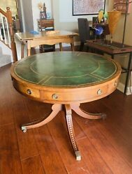 Antique Large Baker Furniture Leather Top Mahogany Drum Table On Brass Caster