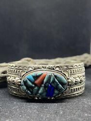 Native American Navajo Raised Inlay Sonoran Turquoise And Coral Sterling Bracelet