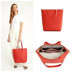 Cuyana Tall Structured Leather Zipper Tote in Blood Orange Brand New with Tags $125.00