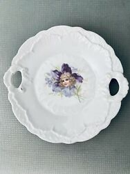 Antique Victorian Porcelain Plate Scalloped Edge Violet Flowers And Blonde Girl