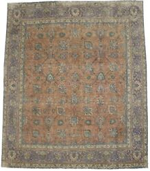 Antique Vintage Distressed Handmade 9and0398x11and0395 Muted Rust Oriental Rug Carpet