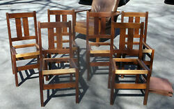 Stickley Set Of 6 Antique Mission Oak Arts And Crafts Dining Room Chairs W/ Labels