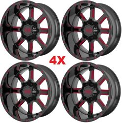 24x14 Gloss Black Red Tint Wheels Rims Sierra Silverado Ram Xd Tis Fuel Deep Lip