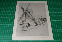A Sussex Mill Antique Print C1907 Of Etching By Charles J. Watson