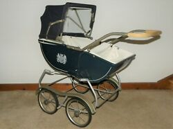 Vintage Antique Baby Doll Stroller Carriage Blue Buggy Buggie