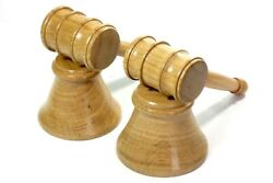 Pair Of Gavels And Blocks English Oak Handmade Tommy Woodpecker Woodworks