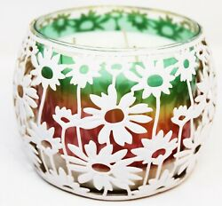Bath amp; Body Works Candle Holder Large 3 Wick Metal Sleeve White Flowers Daisy