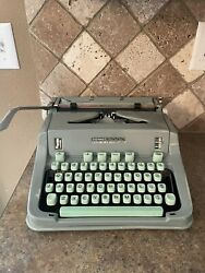 Vintage 1960and039s Hermes 3000 Switzerland Sea Foam Green Portable Typewriter And Case
